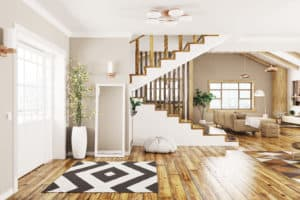 Modern interior design of house, hall, living room with staircase 3d rendering